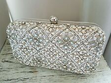 Accessorize stunning Snow queen pearl seqinned clutch bag Bnwt
