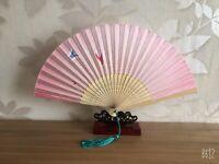 New Chinese Japanese Oriental Cherry Pink Butterflies Wood Hand Fan ccfan129
