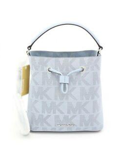 NWT Michael Kors Suri Medium Logo Blue Perforated Suede Crossbody Bag New $398