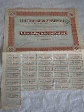 vintage share certificate Stocks Bonds L'Electrification Industrielle 1920