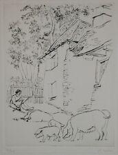 """Eau-forte de R.LOTIRON """"Les cochons"""" signée au crayon, 2/25"""