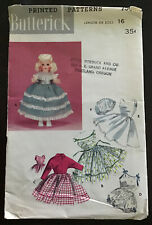 "Vtg. Butterick 7565 - 16"" Doll Wardrobe Sewing Pattern, Partially Cut, VGC"