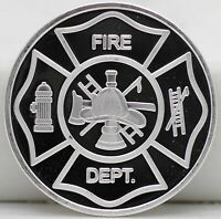 Fire Department .999 Silver Art Medal 1 oz Round - Firemen Fireman Firefighter