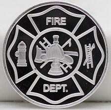 Fire Department 999 Silver 1 oz Art Medal Round - Firemen Fireman Firefighter