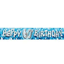 12Ft Long 60th Blue Birthday Holographic Banner Party Decorations Party Supply