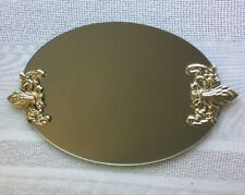Oval Silver Ornate Plastic Handles Footed Mirror Vanity Tray