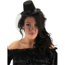 New STEAMPUNK Black Gothic VICTORIAN Coachman Small Cocktail TOP HAT Veil PROP