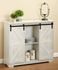Barn Door Style Buffet Cabinets 2 Colors Black Antique White Kitchen Living Room