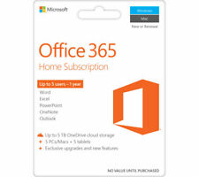 Retail Microsoft Office 365 Home 5 PCs/Macs + Tablet 1-Year Subscription