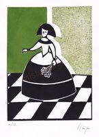 Llop - Menina - grabado xilografia y gofrado 28x22 original