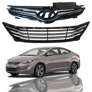 For 2014 2015 2016 Hyundai Elantra Sedan Front Upper & Lower Grille Assembly 2pc