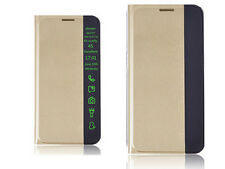 Samsung Galaxy E5 Case, Smart Health Protective Stand Holder PU Leather Case GLD