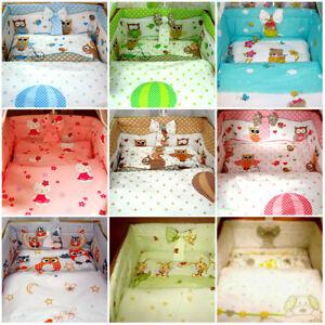 5 PCS BABY NURSERY BEDDING SET FIT COT 120x60 or Cot Bed 140x70cm,BUMPER LONG