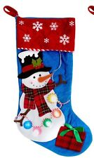LIGHTED Snowman Christmas Stocking 19""