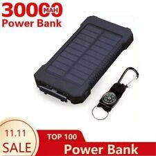 30000mAh Solar Power Bank Waterproof Solar Charger Dual USB External Charger Pow
