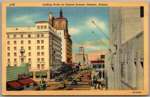 "1942 Phoenix, Arizona Postcard ""North on Central Avenue"" Downtown Curteich Linen"
