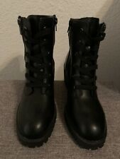Madden Girl Hushh Women's Lace-Up, Side Zip Black Combat Heeled Bootie. Size 8 M