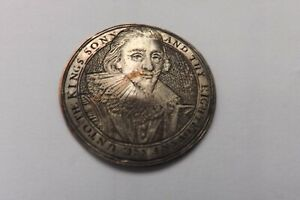 ORIGINAL CHARLES PRINCE OF WALES 1616 KING CHARLES THE FIRST SILVERED BADGE 3101