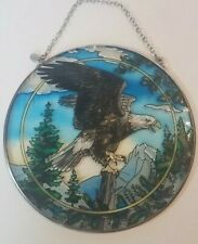 """SCREAMING EAGLE AMIA STAINED GLASS SUNCATCHER 6.5"""" ROUND WITH CHAIN 7113"""
