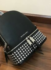 MICHAEL KORS 100% RHEA Black Leather Silvertone Studs Backpack Rucksack Bag NEW