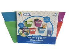 (Lot Of 2) 4 Pc Sets Of Learning Resources Magnetic Create A Space Storage Bins