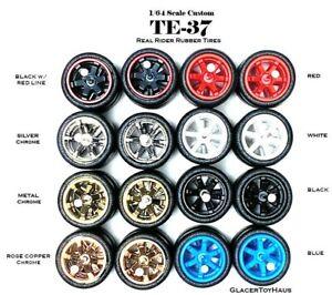 1/64 Scale Custom Wheels - TE37 - 6 Spokes - Hot Wheels Rubber Tires