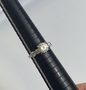 925 Sterling Silver And CZ Large Cocktail Ring Size R.5
