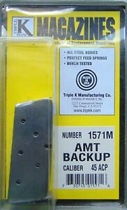 AMT Backup .45 ACP Magazine Back Up Mag 5 Round RD Stainless Steel Clip