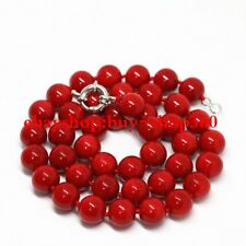 """Pretty Natural Red Coral 8mm Round Beads Gemstone Necklace 18"""""""