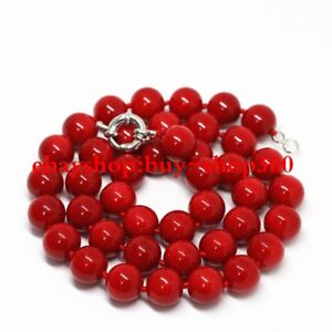 """Pretty Natural Red Coral 8mm Round Beads Gemstone Necklace 18"""" AAA"""