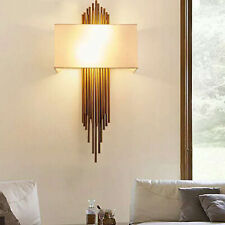 Modern Bedside Light Wall Sconce w/ Fabric Shade Lamp Wall Mount Indoor Bedroom
