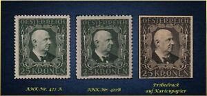 Musik und Philatelie: Österreichs 1922 - xx MNH + Probe - ANK-Nr. 422