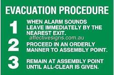 Evacuation Procedure Sign Safety Signs Australian Made Quality Printed Sign