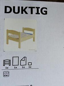 DUKTIG Doll bed with bedlinen set, pine, multicolor New Ikea