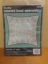 """Floral Tile 49466 Bucilla Counted Bead Embroidery Kit 12""""  Square"""