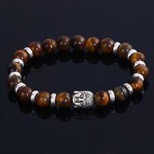 DF4 Natural Lava Stone Beads Brown & Silver Buddha Stretch Bracelet