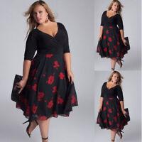 Fashion Women Plus Size Sexy V-Neck Floral Maxi Evening Party Boho Beach Dress