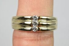 Woman's 14k Solid Gold 3 Row 1/5 tcw Diamond Band 7.0mm Ring