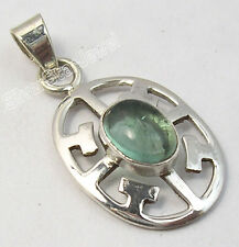 """925 Solid Silver Wonderful APATITE GEMSTONE MADE IN INDIA CELTIC Pendant 1.2"""""""