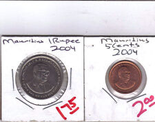 From Show Inv. - 2 NICE COINS from MAURITIUS - 5 CENT & 1 RUPEE (BOTH 2004)
