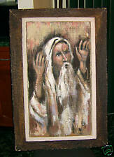 JEWISH MAN PRAYING PAINTED ON WOOD! JUDAICA UNIQUE READ FREE SHIP