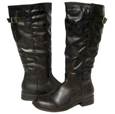 New Women's winter Riding Boots Brown Knee High Biker shoes snow Ladies size 7.5