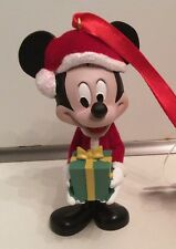 Disney Parks Santa Mickey Mouse with Present Holiday Figurine Ornament NEW