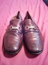 Genuine Leather Burgundy Lorenzo Banfi Milano shoes with silver buckle Sz. 9 1/2