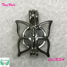Magnificent Butterfly Pearl Cage Pendant- Silver Plated Fit Up To 7.5mm Fun Gift
