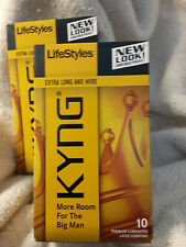 20 KYNG Extra Long & Wide Premium Lubricated Latex Condoms 2 Sealed Boxes