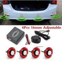 White 4pcs Flat Hidden Sensors Car Parking Reverse Radar Buzzer Alarm System Kit