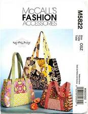 MCCALL'S SEWING PATTERN 5822 SHOULDER BAGS/TOTES/ HANBAGS IN THREE SIZES