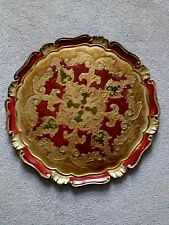 Circular Wooden Tray From Spain 1970s, Red Gold And Green
