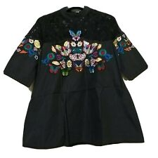 Butterfly Patch Black Flare Top